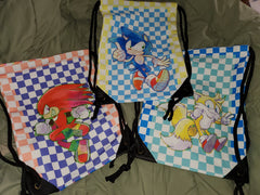 "17"" Modern Sonic Tails Knuckles Drawstring Canvas Bag"
