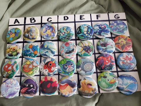 Pokemon Card Pinback Buttons [Water]