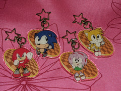 "2"" Classic Sonic Tails Knuckles Amy Doubleside Glitter Acrylic Keychain [DISCONTINUED]"
