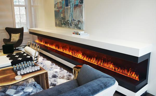Dimplex Opti-myst Cassettes Combined in a Long Linear Fireplaces