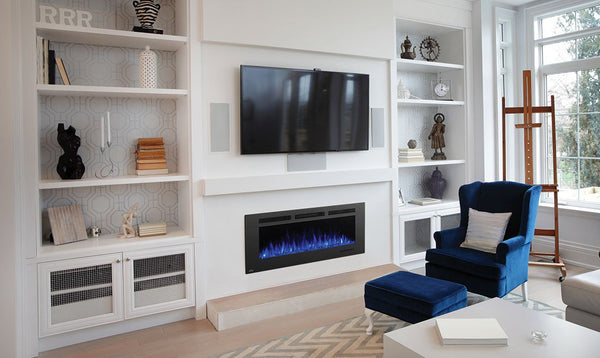 Fireplace built into a custom Entertainment center