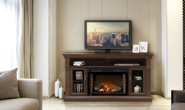"NAPOLEON THE CANTERBURY BROWN MEDIA CABINET WITH ELECTRIC FIREPLACE FOR 70"" TV (NEFP29-1415E)"
