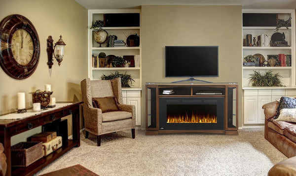 "TV stand with fireplace for a 66"" TV"