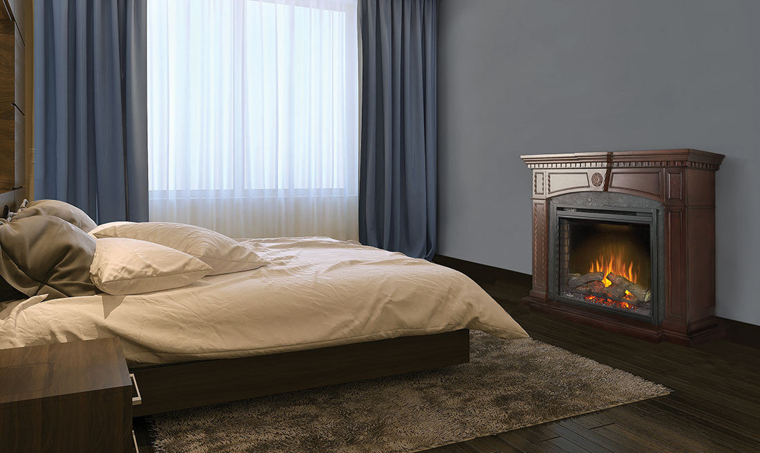 Electric Fireplace With Mantel in a Bedroom
