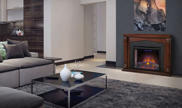 Contemporary Electric Fireplace with Mantel