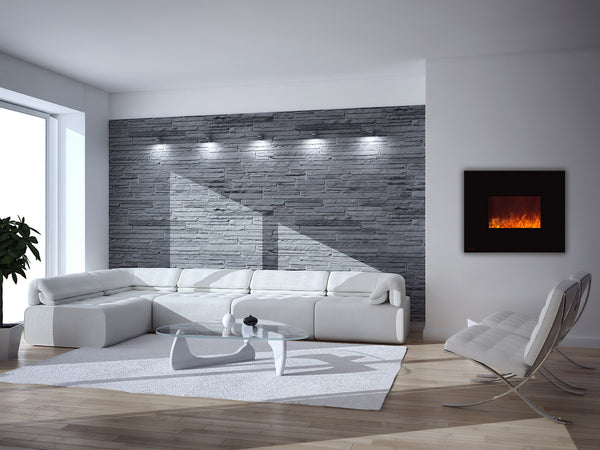 Get inspired by the dozens of pictures of wall mounted fireplace ideas in living room including all time favorite - electric fireplace ideas with TV above!
