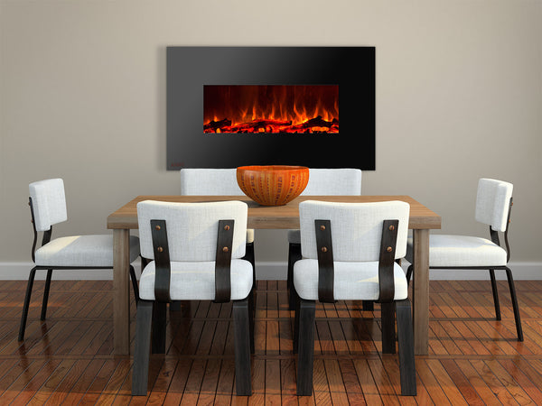 Wall Mounted Electric Fireplace Above The Dining Table
