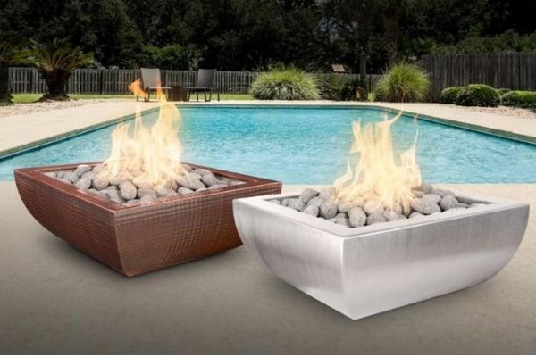 Top Fires Avalon Square Stainless Steel Gas Fire Bowl - Match Lit