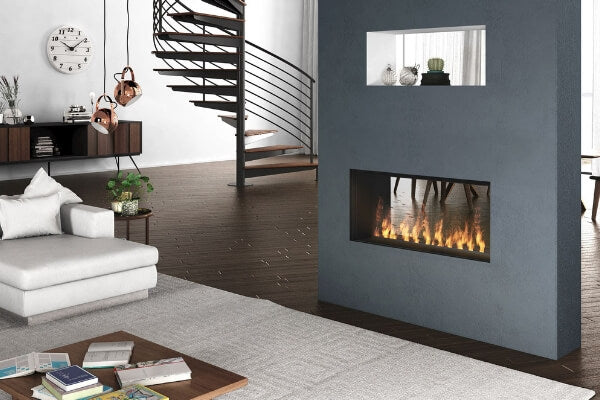 2-sided vent-free fireplace