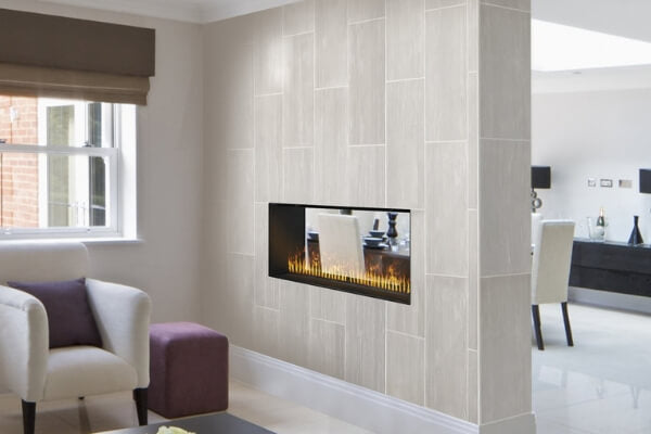 2-sided vent-free fireplace in a dividing wall