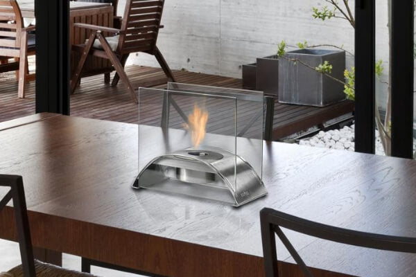 Eco-Feu Sunset Table Top Ethanol Fireplace - Stainless Steel (TT-00114-SS)