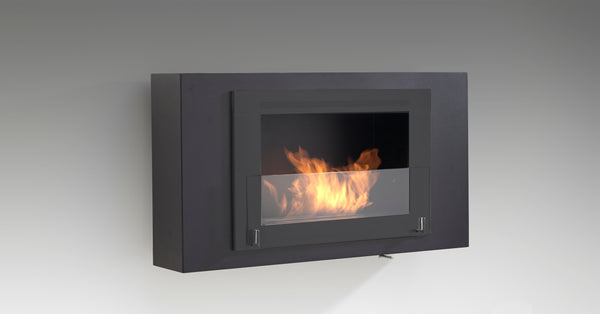Modern Black Wall-mounted Fireplace