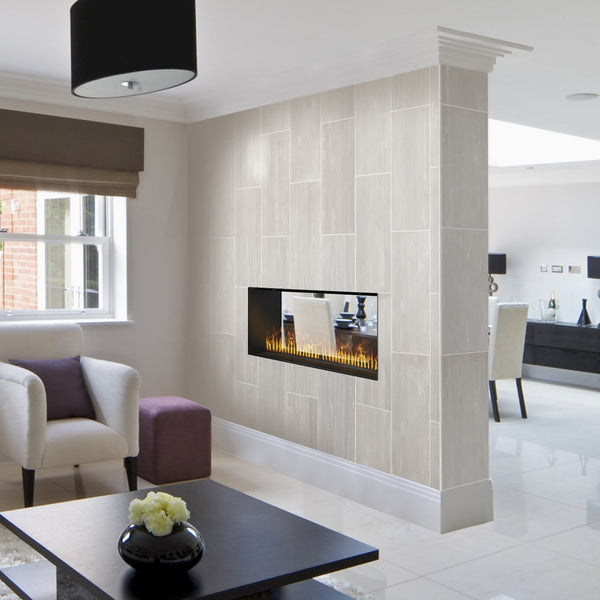 Two-sided Water Vapor Fireplace in Room Setting