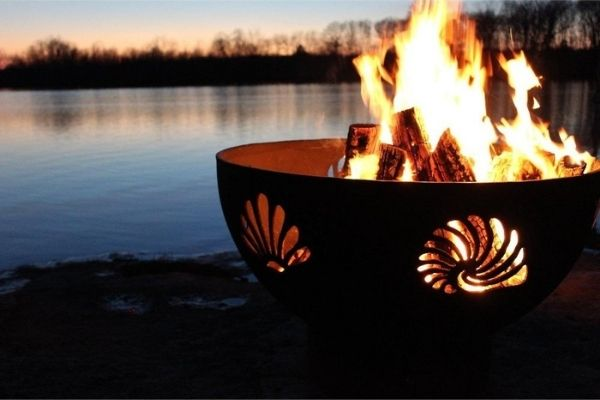 """Fire Pit Art Beachcomber - 36"""" Handcrafted Carbon Steel Fire Pit"""