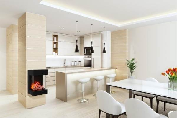 Small fireplace for kitchens