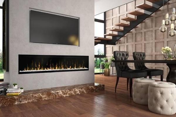 Dimplex Ignite XL Fireplace installed in Dining Room