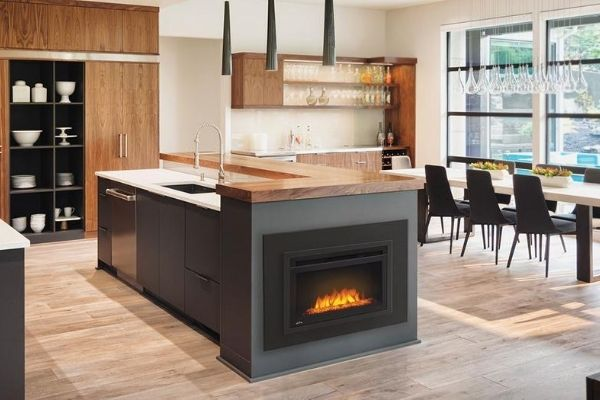 Electric Firebox in kitchen island