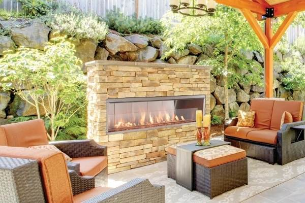 "Superior Linear Vent-Free Outdoor Gas Fireplace, Optional See-Through, Sizes: 36""-72"" Long"