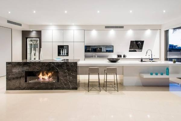 Fireplace in a kitchen island