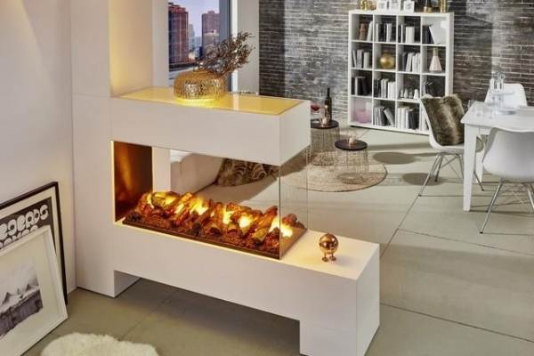 3-Sided Water Vapor fireplace for kitchen