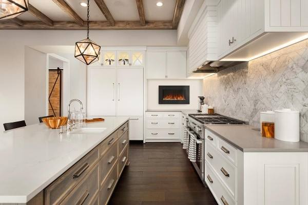 Electric Fireplace In a Kitchen