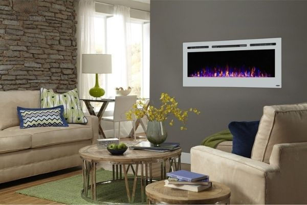 """Touchstone Sideline White - 50"""" Recessed Electric Fireplace"""