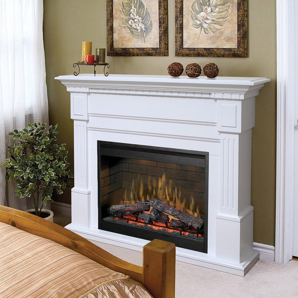 Electric Fireplace with White Mantel in the Bedroom