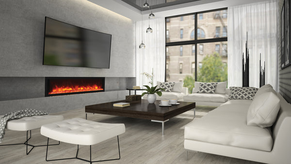Remii Deep Electric Fireplace under a TV