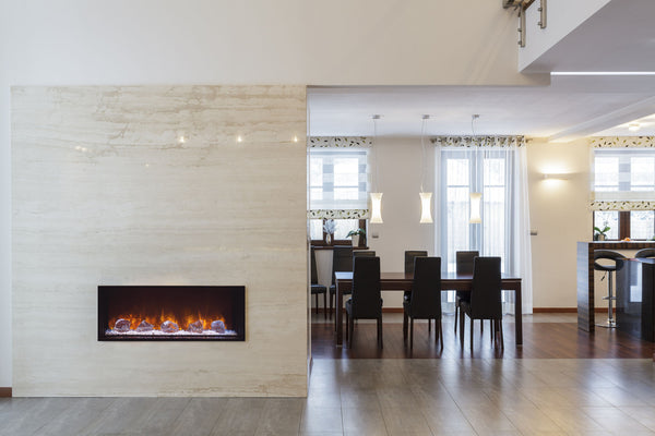 Electric Fireplace Built Into The Wall That Separates The Living Room From  The Kitchen And Dining Room Creates A Necessary Accent And Warms Up Both  Areas.