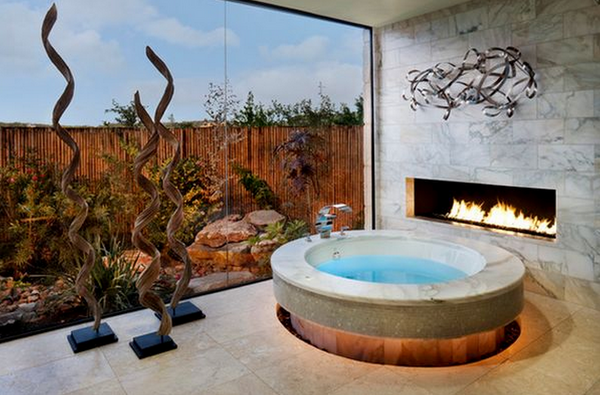 Modern Fireplace in the bathroom