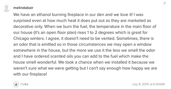 Customer opinion about ethanol fireplace