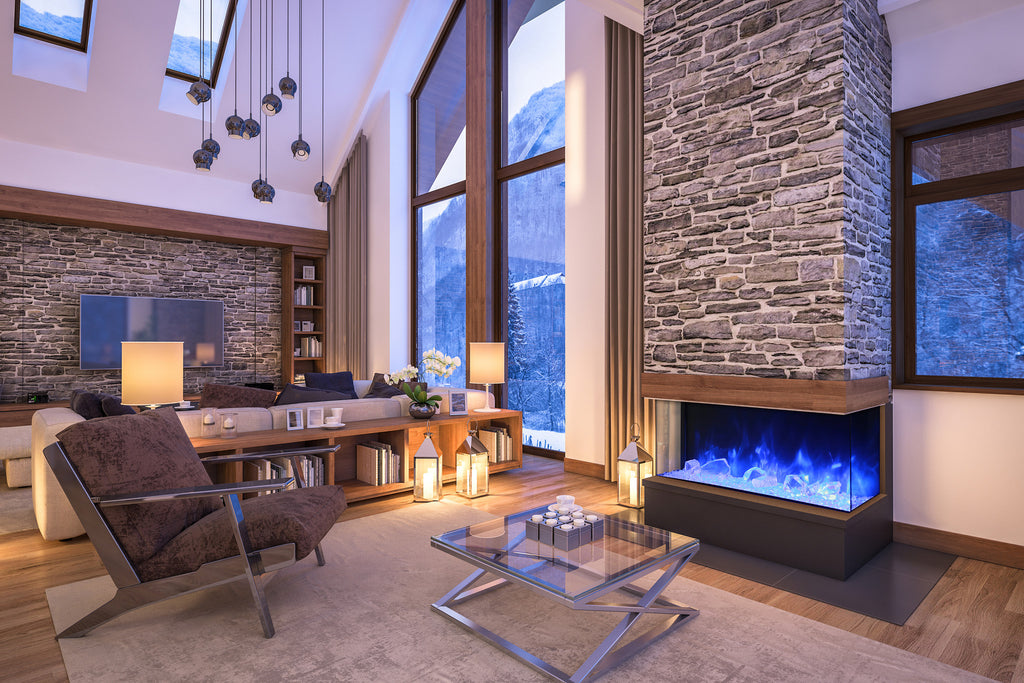 3 Sided Modern Fireplace With Blue Flame