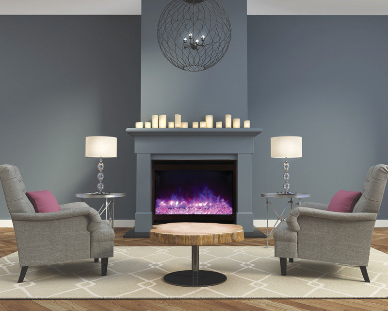 Electric Fireplace Insert In Contemporary Interior