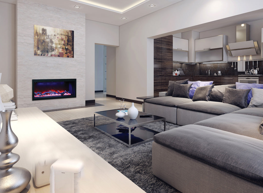 Clean modern fireplace with pink flame
