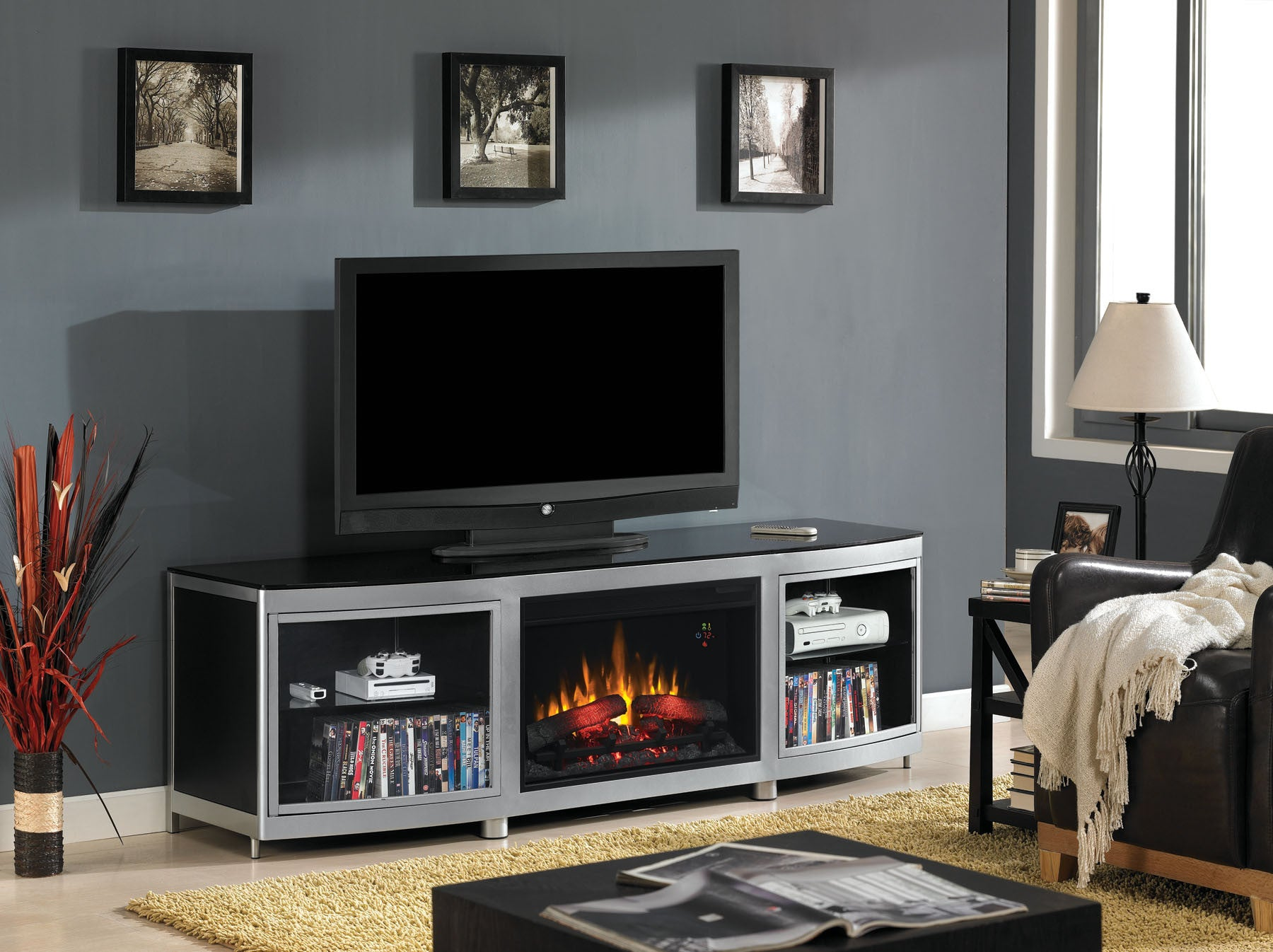 "Classic Flame Gotham TV Stand for 80"" TV with Electric Fireplace (26MM9313-D974)"