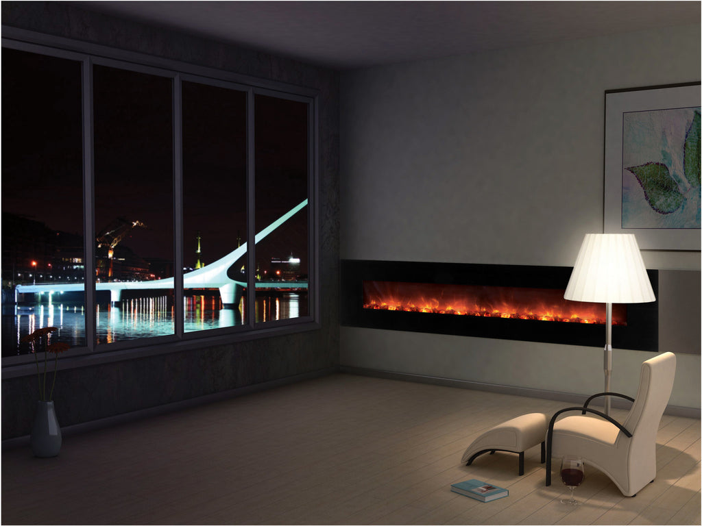 Cozy Sitting by an Electric Fireplace With View