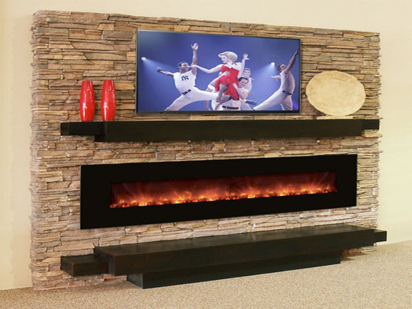 Electric Fireplace with Stone Surround and TV above