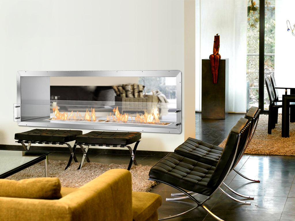 "Ignis Ethanol Firebox - 78"" Built-in See-Through Ventless Fireplace (FB6200-D)"