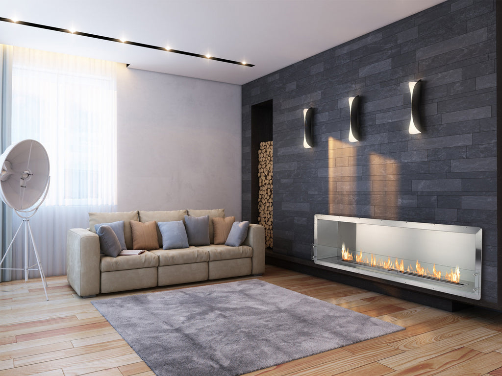 "Ignis Ethanol Firebox - 78"" Built-in Single Sided Ventless Fireplace"