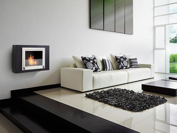 "Eco-Feu Wellington - 33.5"" UL Listed Wall Mounted/Built-In Ethanol Fireplace"