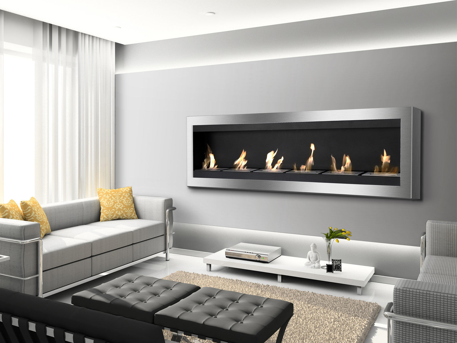 "Ignis Maximum - 83"" Wall Mounted Ethanol Fireplace (WMF-012)"