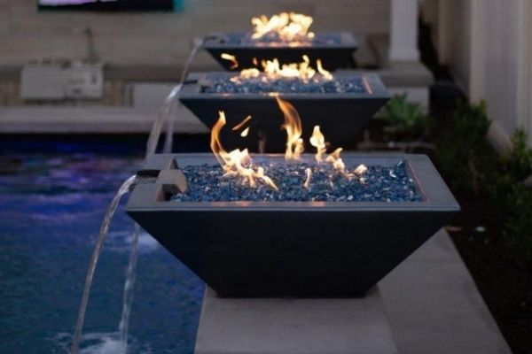 """Top Fires 24"""" Square Concrete Gas Fire and Water Bowl - Match Lit"""