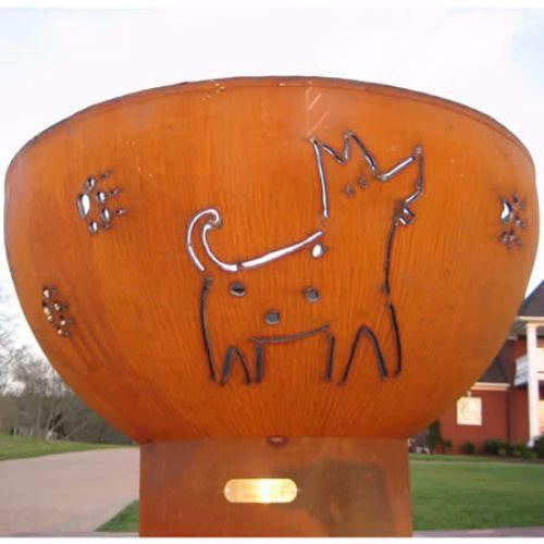 "Fire Pit Art Funky Dog - 36"" Handcrafted Carbon Steel Fire Pit (FDOG)"