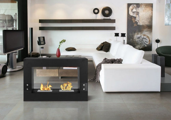 "Ignis Tectum Black - 47"" Free Standing Ethanol Fireplace, Indoor/Outdoor (FSF-004)"