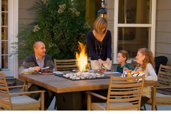 """American Fyre Designs Cosmopolitan 60"""" Reclaimed Wood Square Gas Fire Pit Dining Table"""