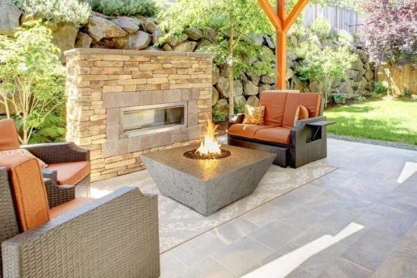 Athena Olympus Square Concrete Gas Fire Pit Table