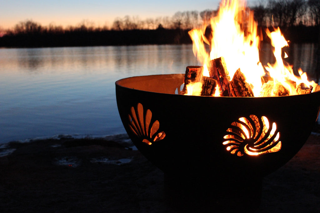 "Fire Pit Art Beachcomber - 36"" Handcrafted Carbon Steel Fire Pit (BEACH)"