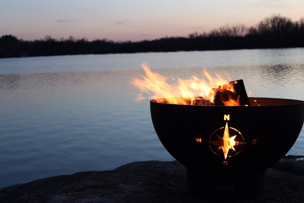 fire pit with compass design