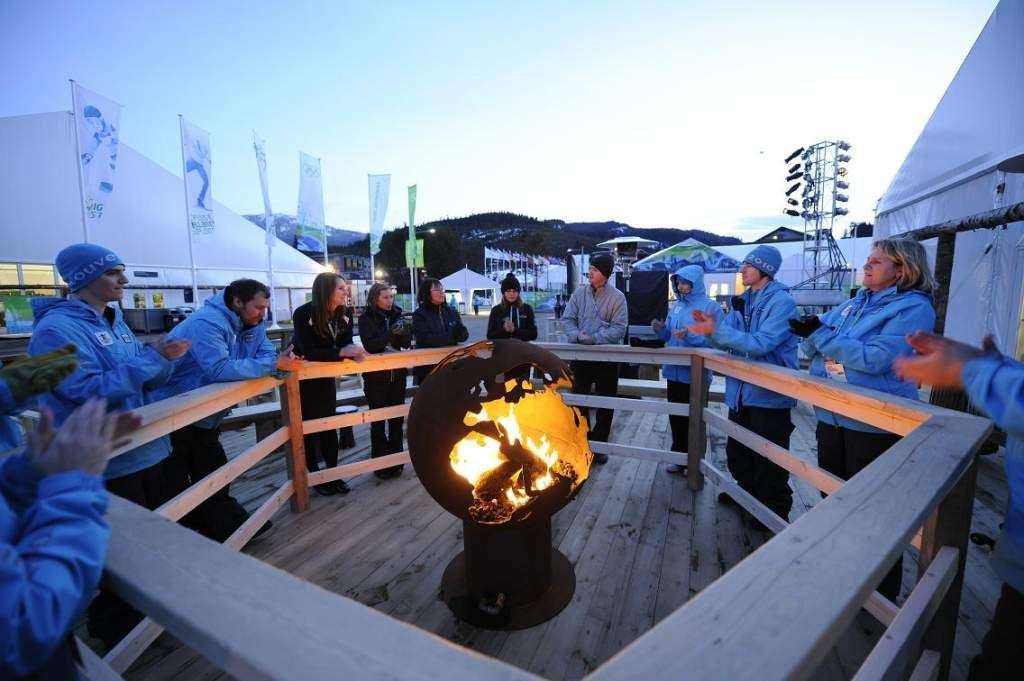 "Third Rock - a 36"" Globe Shaped  Handcrafted Carbon Steel Fire Pit at 2010 Winter Olympics:"