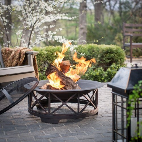 "Fire Sense Portsmouth - 30"" Steel Fire Pit With Spark Screen (#60904)"